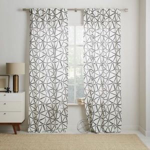 West Elm Gray & White Curtains 48x96